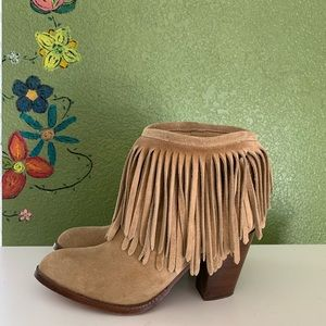 Frye llana suede fringe boots booties 7 taupe